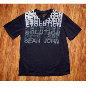 Sean Jean Black V Neck T-Shirt Size Large